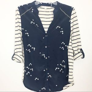 Anthropologie Tiny Blue Ivory Floral Blouse- S